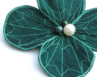Botanical Hair Pin- Your Choice of Hair Clip, Bobby Pin, or Brooch- Teal with Light Turquoise Embroidery