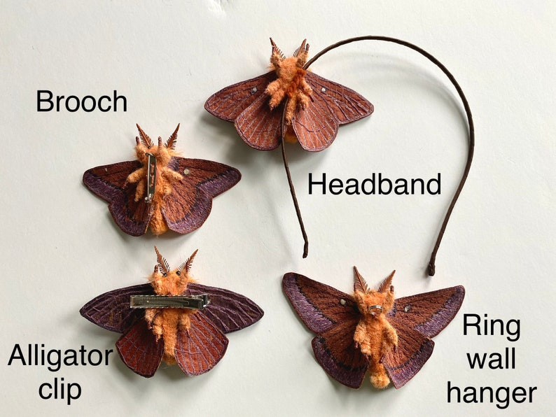 Your Choice of Brooch Embroidered Oakworm Moth Headband or Wall Display Hair Clip