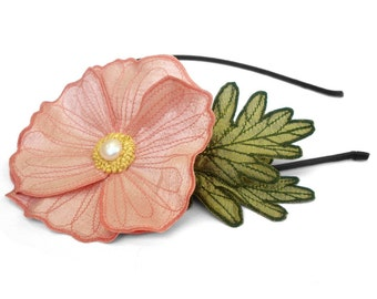 Blushing Pink Icelandic Poppy Flower Headband- You Choose Headband, Clip, or Brooch- Embroidered Silk Flower Fascinator with Leaves