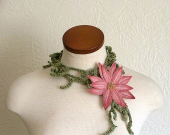 Blushing Pink Lotus Flower with Asparagus Green Lariat Scarf- Fiber Art Scarf- Embroidered Silk Flower Lily Clip with Crochet Scarflette