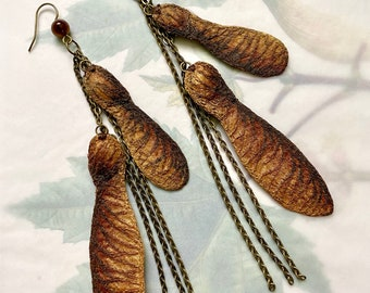 Embroidered Maple Seed Earrings, Maple Samara Earrings in Bronze-Brown, Embroidered Silk Textile Jewelry