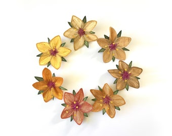 """Yellow """"Scarlet Pimpernel"""" Hair Clips: (7 Shades of Yellow)—Your Choice of Alligator Clip, Bobby Pin, or Brooch"""