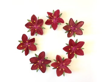 """Red """"Scarlet Pimpernel"""" Hair Clips: (7 Shades of Red)—Your Choice of Alligator Clip, Bobby Pin, or Brooch"""