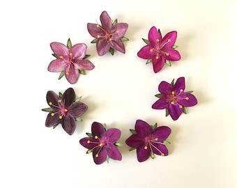 """Magenta """"Scarlet Pimpernel"""" Hair Clips: (7 Shades of Magenta)—Your Choice of Alligator Clip, Bobby Pin, or Brooch"""