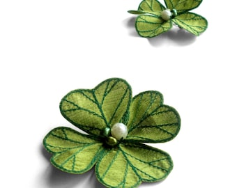 Lucky Four Leaf Clover Hair Clip - Your Choice of Alligator Clip, Bobby Pin, or Brooch - Apple Green with Emerald Embroidery