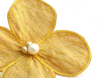 Water Clover Hair Clip- Your Choice of Hair Clip, Bobby Pin, or Brooch- Honeycomb Yellow with Lemon Embroidery- Yellow Hair Flower