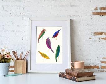 Five Birds (Original Watercolor)