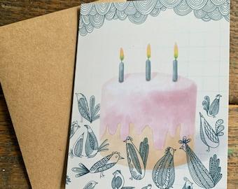 Bird Party Birthday Card