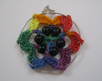 Rainbow Flower Crochet Necklace with Blue-Gold Beads