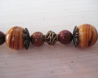 Beaded Interchangeable Bracelet Watch Band With Brown Swirl Ceramic Beads and Stones
