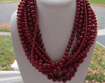 Chunky Red Necklace, Red Jewelry, Red Statement Necklace, Multistrand Red Necklace, Bold Red Necklace, Large Red Necklace, Red Beads