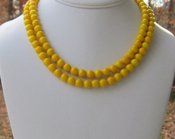 Bright Yellow Necklace Bright Yellow Jewelry Yellow Bridesmaids Jewelry Gift for Bridesmaids Gift Double Strand Necklace Walking on Sunshine