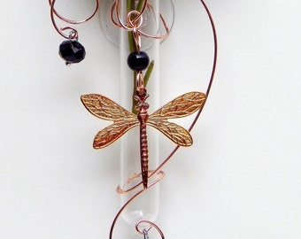 Dragonfly Suction Window Vase, Memorial Glass Bud Vase, Dragonfly lover gift. Oil Diffuser, grief get well gift. Dried Flowers arrangement.