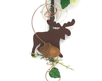 Moose propagation vase Moose Cabin Decor Glass suction rooter vase 3 inch hanging window vase - dried flowers or live plant cutting included