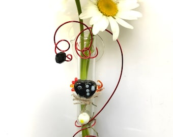 Chicken Lover Gift Idea, Suction Vase for Window Propagation Vase, 3 inch glass bud vase, Live Plant Cutting or Dried Flowers Included