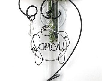 Personalized Propagation Vase, Glass Suction Bud Vase Name Vase Word Vase Window Vase to display fresh flowers 6 inch