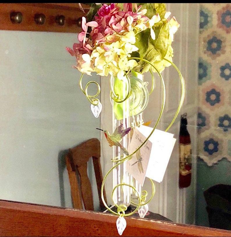 Hummingbird Gift for Bird Lover Glass Suction Test Tube Bud image 0