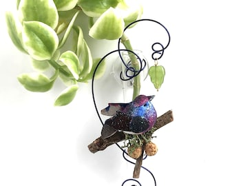 Bluebird test tube vase, glass suction vase, hanging window vase, rooting vase, oil diffuser. Dried florals in 3 inch tube with suction cup