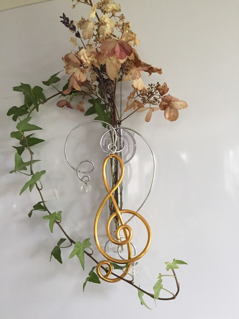 Treble Clef G Clef Glass Suction Window Vase Gift for Music image 0