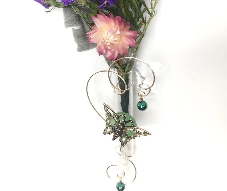 Butterfly Gift For Mom Glass Bud Hanging Window Vase Suction image 0