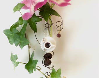 Coffee Lover Kitchen Decor Gift for Mom Window Vase Suction Cup Bud Vase Glass Vase Coffee Cup Vase with Coffee Beans