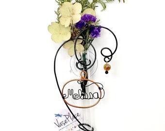 Personalized gift vase, propagation vase. glass suction vase, hanging bud vase, window vase. Choice of word. Choice of florals. 6 inch