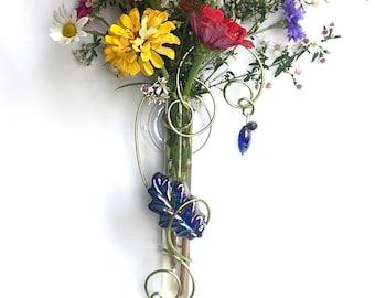 Nature Lover Gift, Glass leaf Vase, Tree Lover Gift, Glass Suction Vase, Suction Window Vase, Hanging Propagation vase, Tube Vase, 6 inch