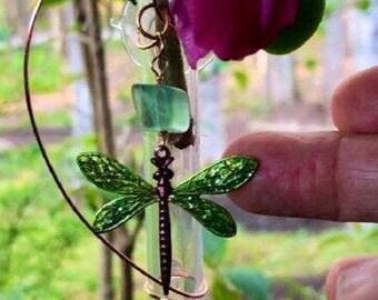 Dragonfly Glass Suction Vase, Memorial Vase, Bud Window Vase, gift for gardener, oil diffuser, bug lover gift, nature, insect