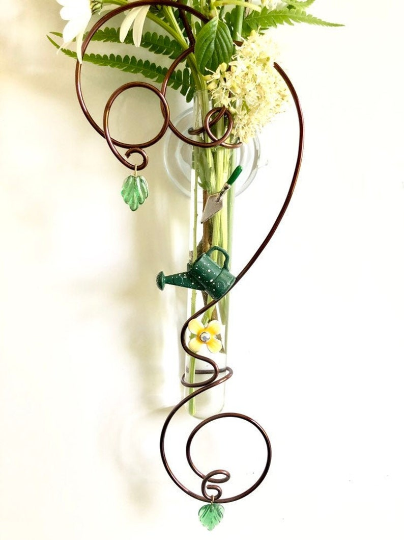 Gift for Gardener 6 inch glass suction vase Gardening tools image 0