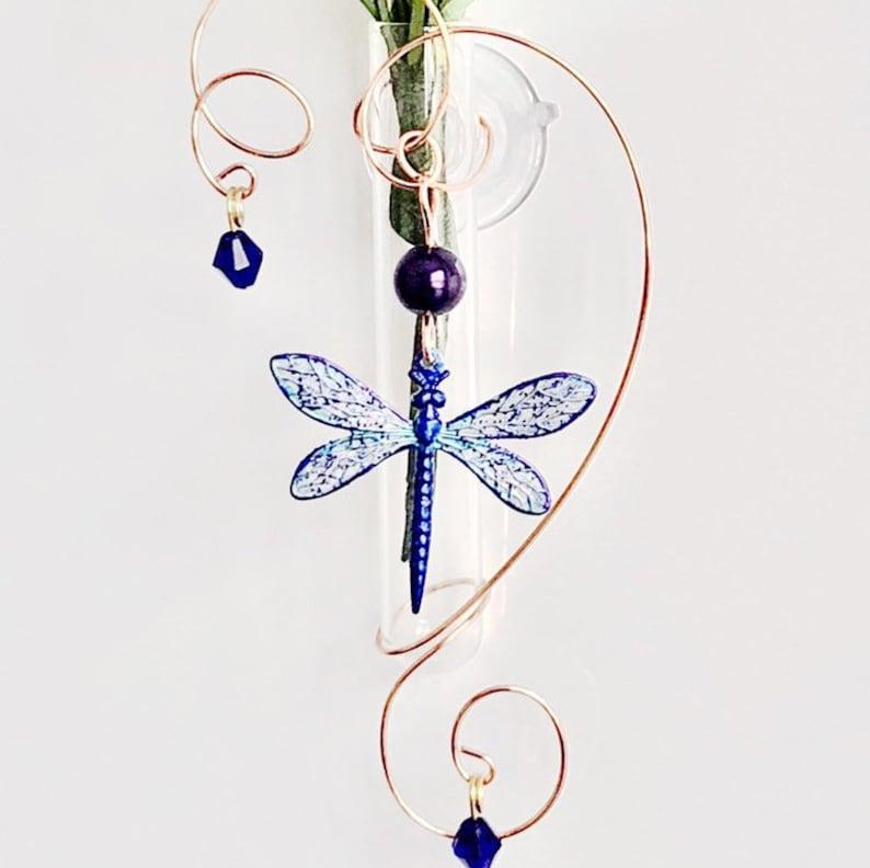 Dragonfly Glass Suction Vase Memorial Vase Bud Window Vase image 0