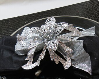 Silver Christmas Poinsettia Napkin Ring Holiday Table Decoration