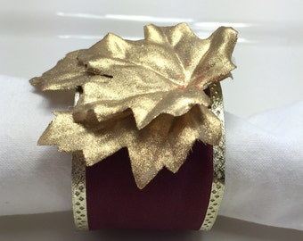 Golden Leaf Christmas Napkin Ring - Thanksgiving - Christmas - Holidays- Dinner Party