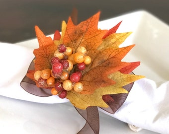 Autumn Napkin Ring with Berry Cluster -Leaf - Fall -Thanksgiving -Table Decoration