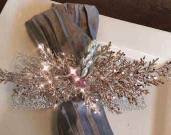 Napkin Rings - blush silver cedar branches and glittery pink berries with Silver Lace Ribbon - Christmas