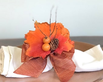 Napkin Ring with Orange Autumn Leaves, Berries and a Pinecone - Fall - Thanksgiving -Autumn