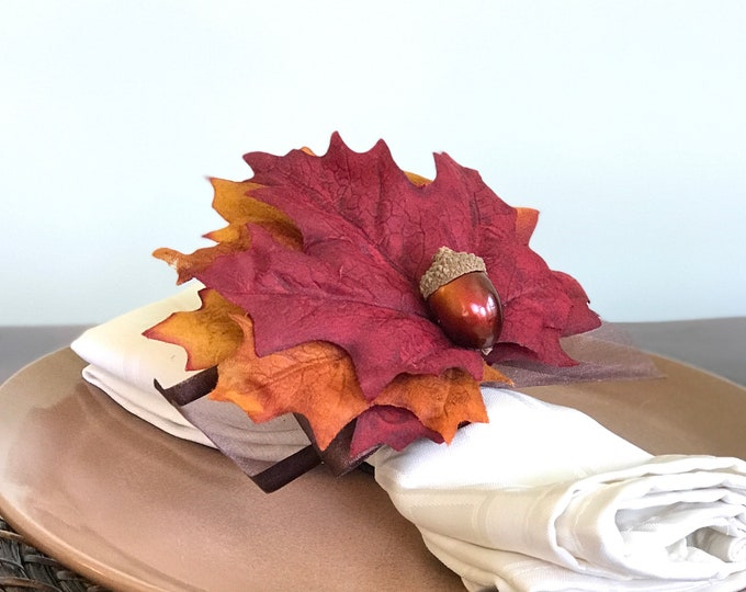 Featured listing image: Autumn Napkin Ring - with Acorn - Fall -Thanksgiving -Table Decoration
