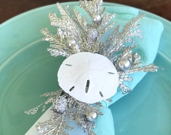 Winter White Sand Dollar Napkin Rings with tulle and silver branches - Wedding - Christmas - New Years