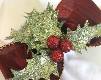 Napkin Rings with Sparkly Holly Leaves and Red Berries - Christmas - Holidays