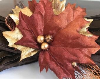 Copper Autumn Napkin Ring  - Thanksgiving - Metallic - Fall