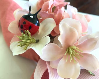 Napkin Ring - Blush Cherry Blossoms with lady bug - Wedding Decoration - Wedding Showers - Easter