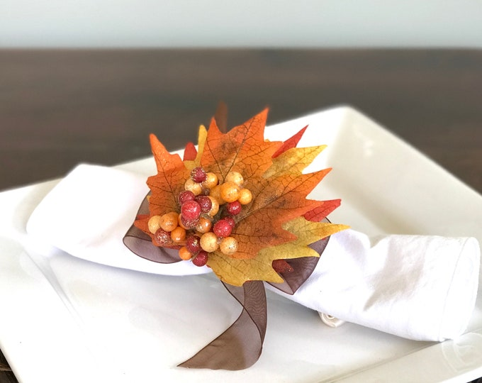 Featured listing image: Autumn Napkin Ring with Berry Cluster -Leaf - Fall -Thanksgiving -Table Decoration