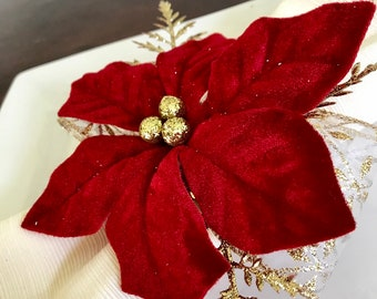 Napkin Rings - poinsettia with gold fern branches and gold berries and ribbon - Christmas - Holiday Dinner Table