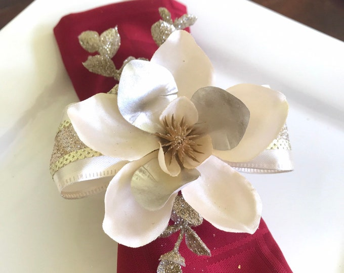 Featured listing image: Napkin Ring - Gold and Cream Flower with Gold Eucalyptus - Wedding Decoration - Wedding Showers - Christmas - Easter