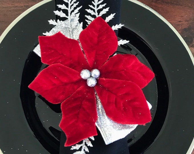 Featured listing image: Napkin Rings - poinsettia with silver fern branches and silver berries and ribbon - Christmas - Holiday Dinner Table