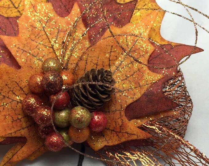 Featured listing image: Napkin Ring with Autumn Leaves, Berries and a Pinecone - Fall - Thanksgiving -Autumn