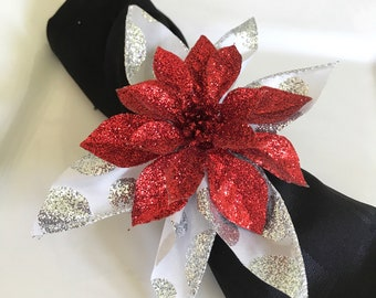 Red Poinsettia Napkin Rings - Very Sparkly - Christmas - Holidays