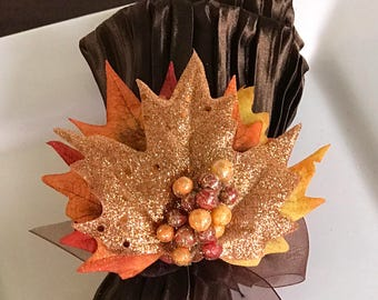 Autumn Napkin Ring with Glitter Leaf - Fall -Thanksgiving -Table Decoration