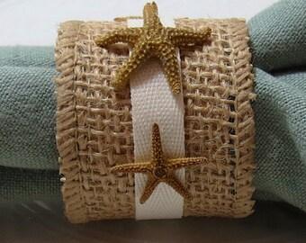 Brown Burlap Starfish Napkin Ring - Beach Wedding - seashore - shells