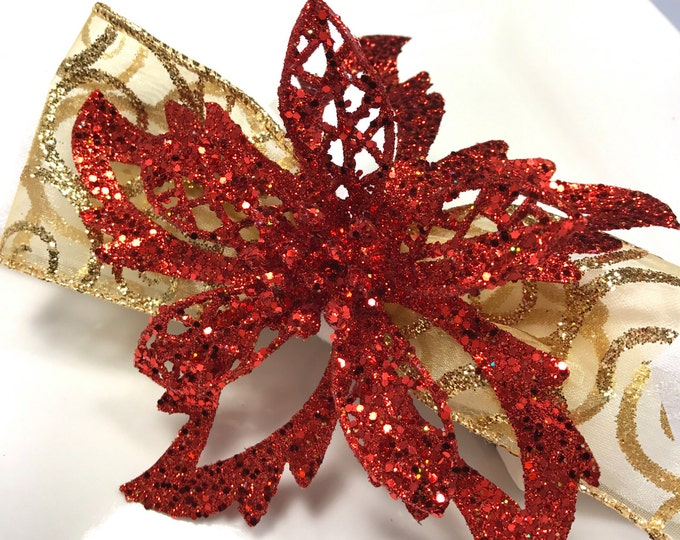 Featured listing image: Crimson Red Christmas Poinsettia Napkin Ring Holiday Table Decoration