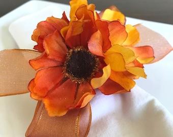 Orange and Yellow Autumn Flower Napkin Ring  - Thanksgiving - Fall